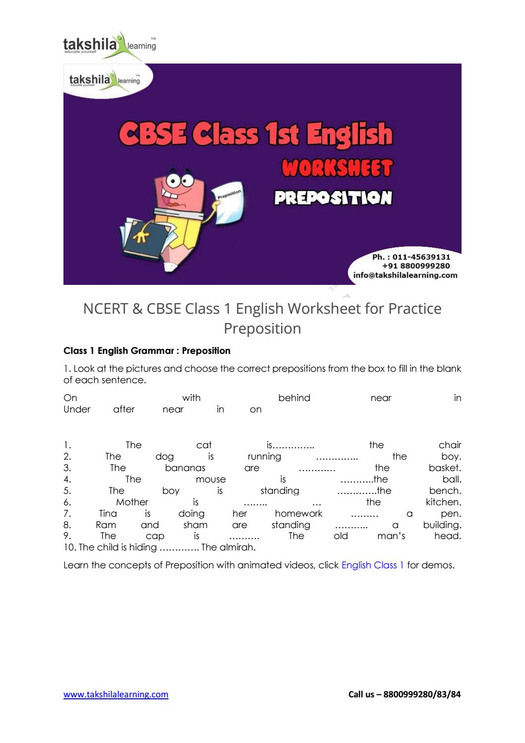 hight resolution of NCERT \u0026 CBSE Class 1 English Worksheet for Practice Preposition by  Online_Education - issuu