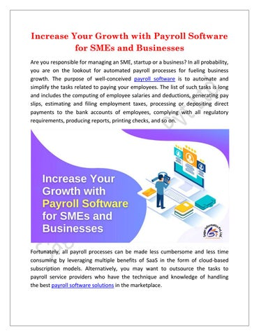 What To Look Out For In Payroll Software For Sme Business : payroll, software, business, Increase, Growth, Payroll, Software, Businesses, Sagar, Informatics, Issuu