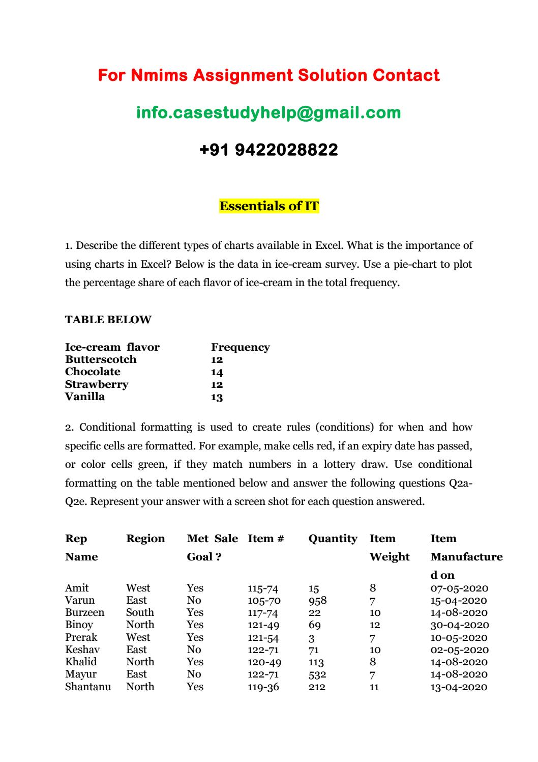 How To Add Percentages To Pie Chart In Excel : percentages, chart, excel, Narsee, Monjee, Assignments, Conditional, Formatting, Highlight, Sales.casestudyhelp, Issuu