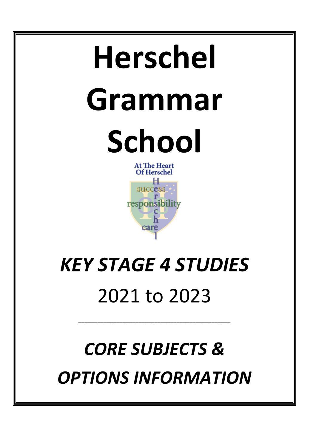 Herschel Grammar School GCSE Options booklet & Key Stage 4