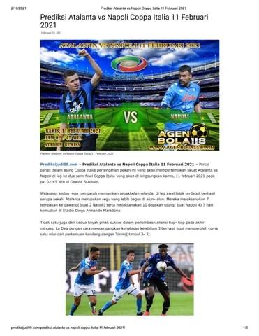 Prediksi Atalanta Vs Parma : prediksi, atalanta, parma, Prediksi, Atalanta, Napoli, Coppa, Italia, Februari, Situsbola118, Issuu