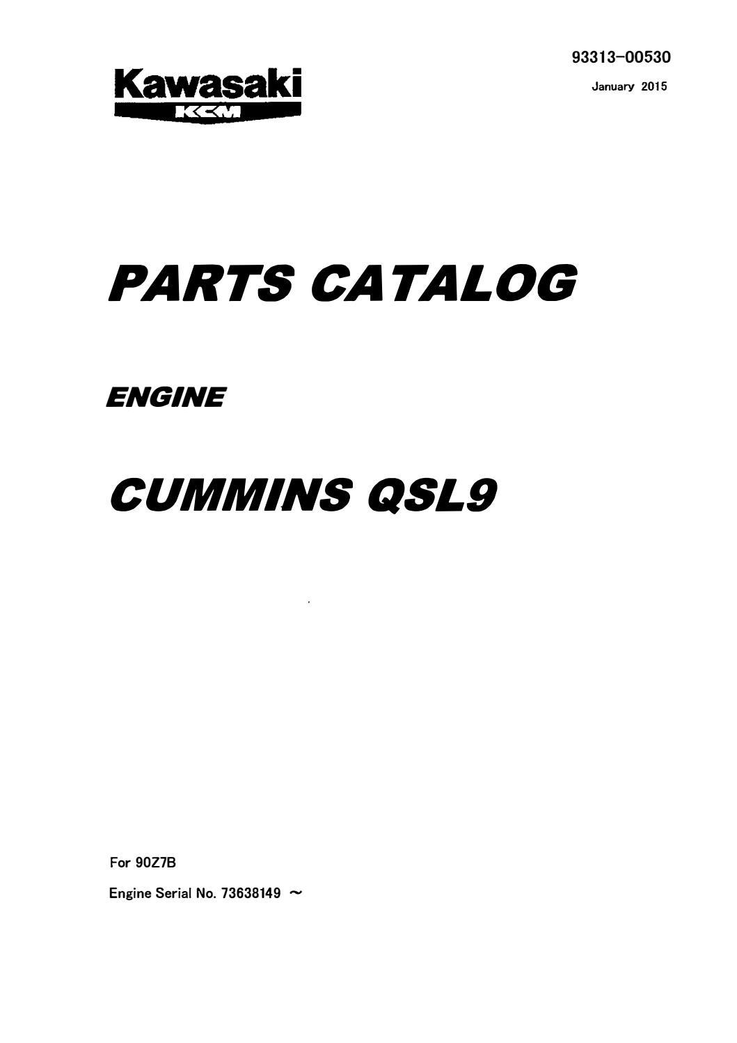 Kawasaki Cummins QSL9 Engine Parts Catalog Manual by