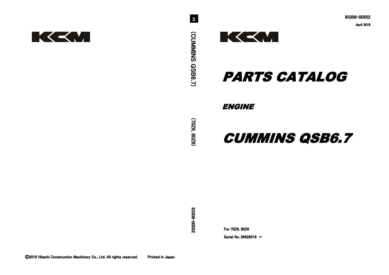 KCM Cummins QSB6.7 Engine Parts Catalog Manual by
