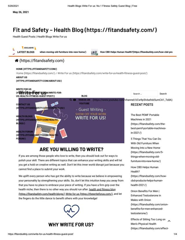 Health Blog Write For Us Fit And Fitness by Fit and Safety Health