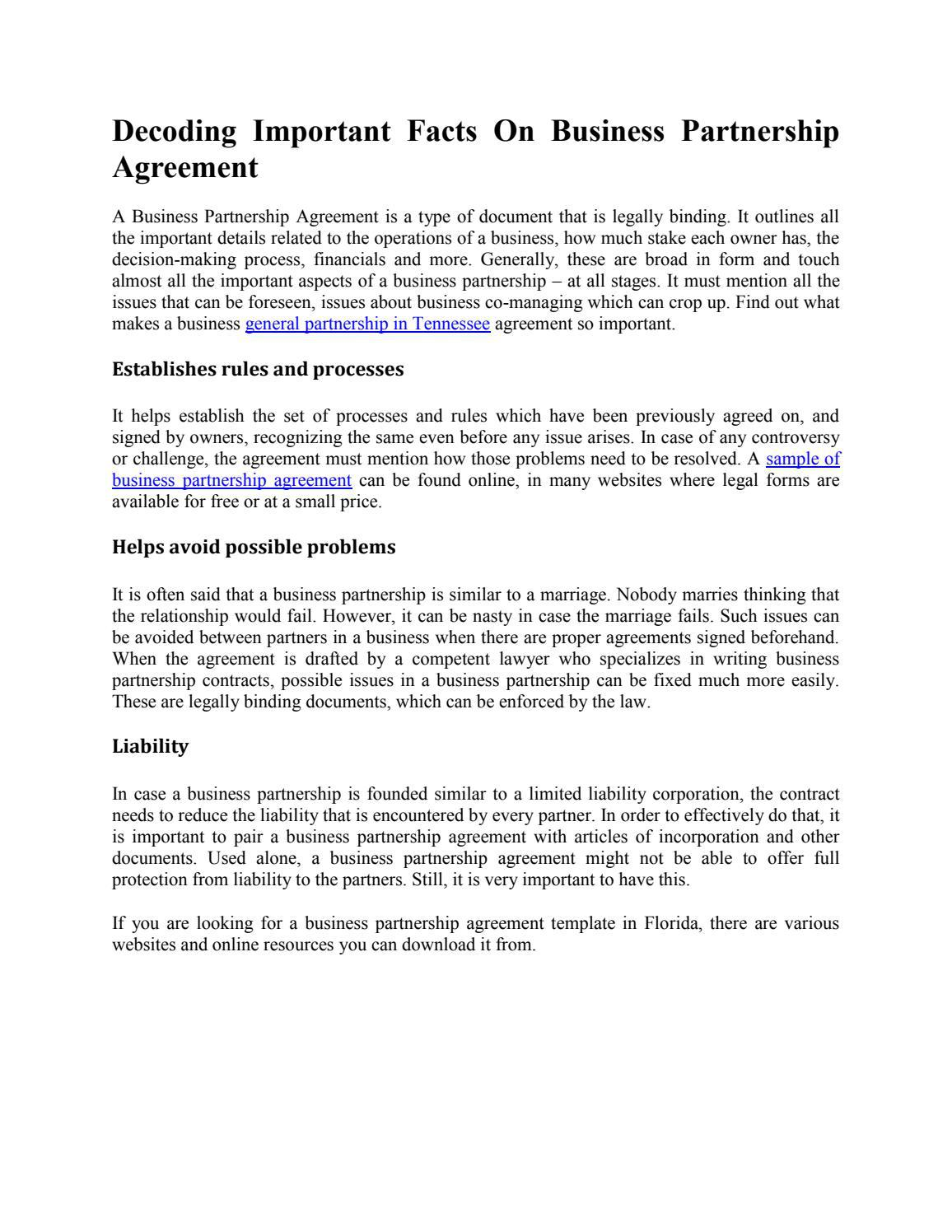 With the help of this agreement template in word , you can define the restrictions, terms, and conditions of … Decoding Important Facts On Business Partnership Agreement By Carl Glendon Issuu