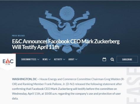 下院エネルギーおよび商業対策委員会の発表