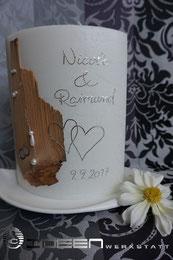Hochzeitskerzen mit Holzelementen  Kerzen  Gstebcher