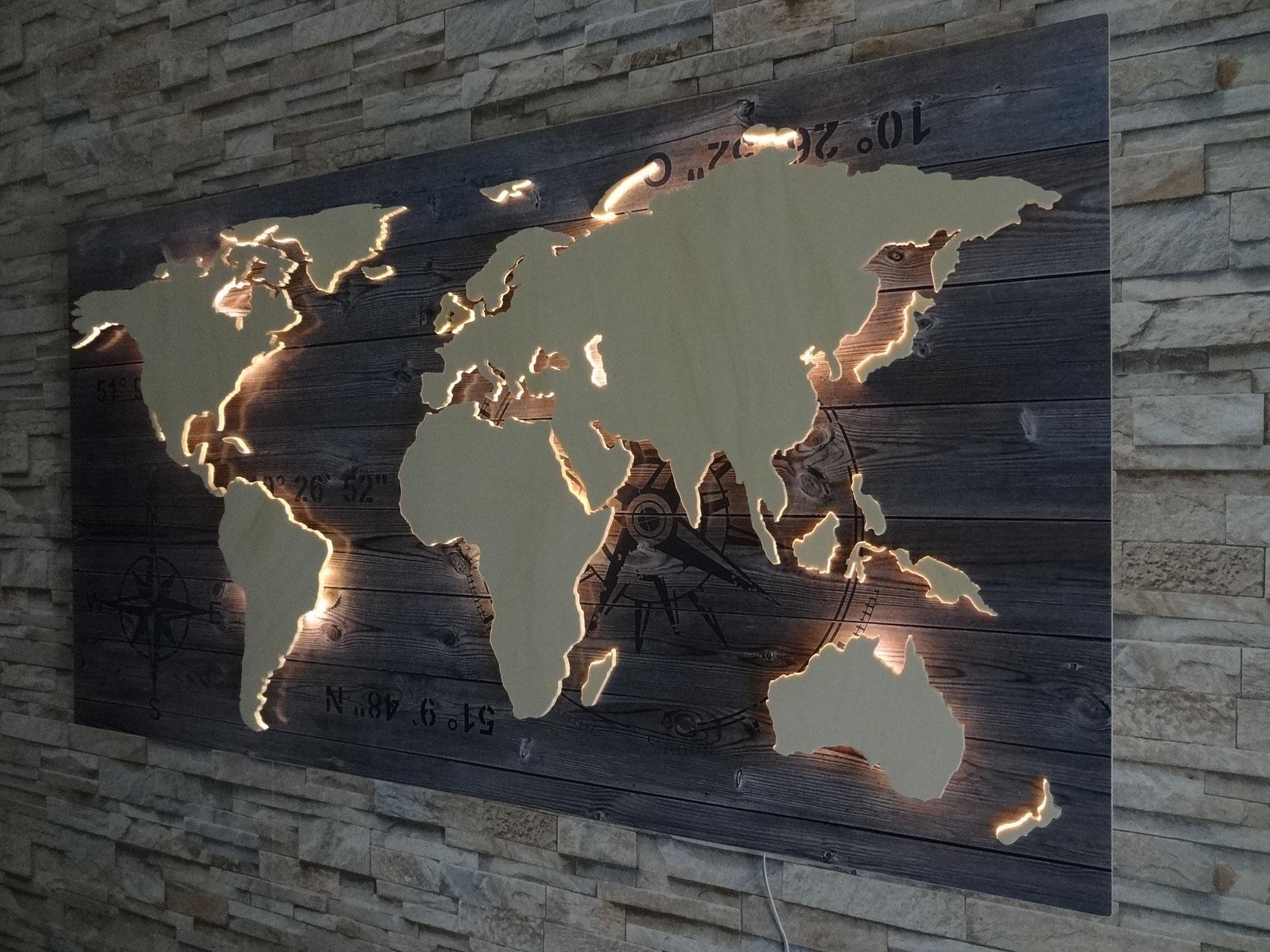 Wanddeko Holz Mit Licht  Wohndesign