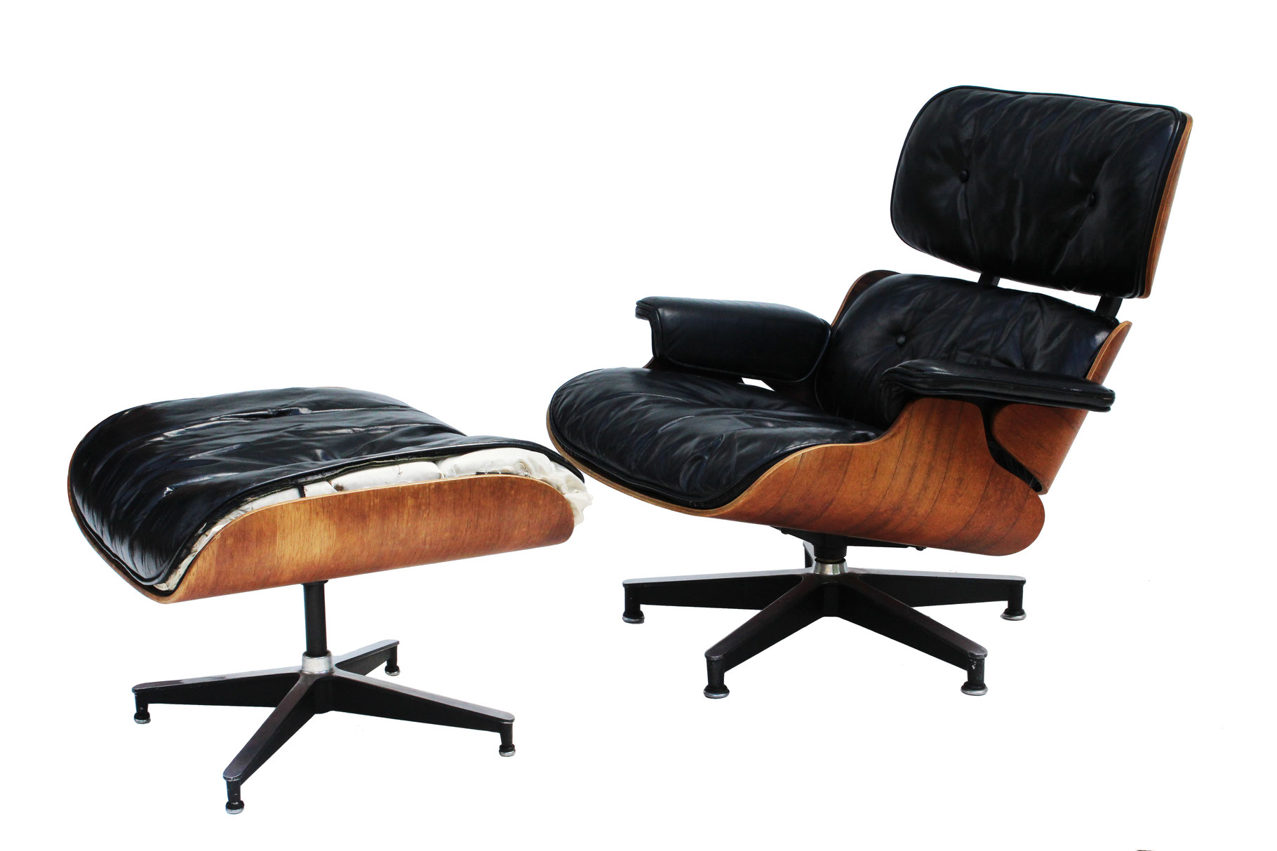 eames style lounge chair and ottoman rosewood black leather dining chairs world market herman miller in