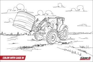 Ausmalbild Trecker Mit Frontlader   Cartoon Bild