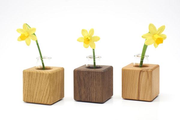 Kleine Vasen aus Holz / Vase farbig / Deko