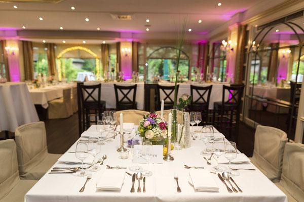 Hochzeits  Tischdekoration im Gasthaus Spieker