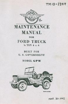 Jeep Bücher, Ersatzteil-Listen, technische Handbücher (TM