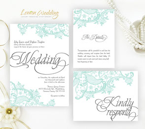 Green Wedding Invitations Mint Lace