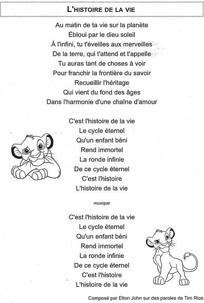 L'histoire De La Vie - Disney paroles de chanson