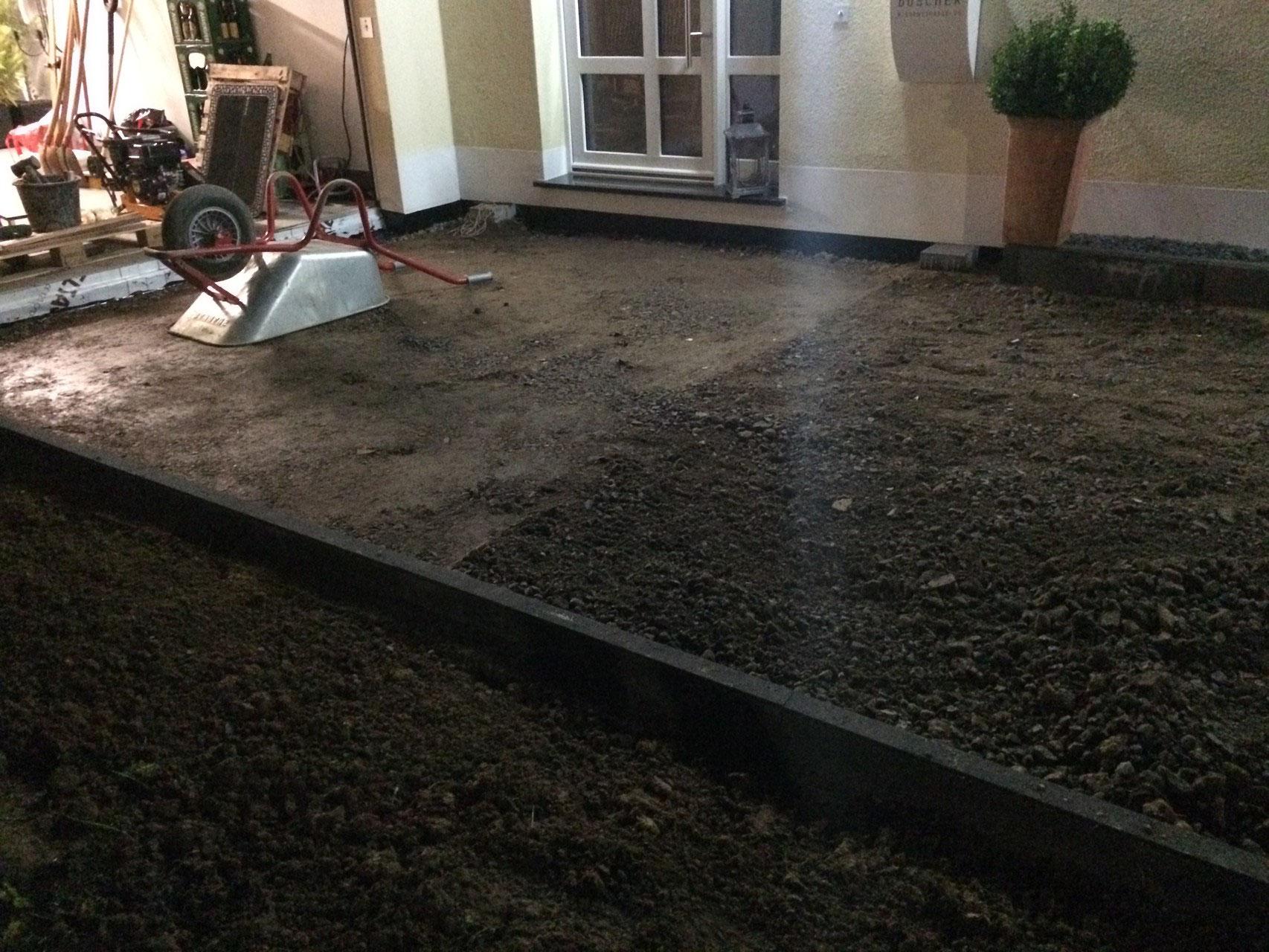 Unterbau Terrasse Schotter Pflastern Unterbau Gartenplatz