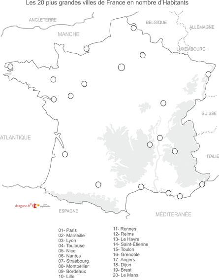 Carte Grandes Villes De France : carte, grandes, villes, france, CARTE, VILLES, FRANCE, VIERGE, Compléter, Dragono.fr