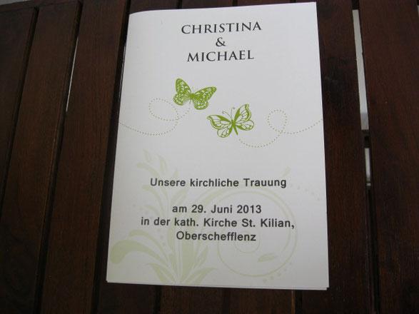 Das Programmheft zur Trauung  Kirchenheft Liedheft Trauheft  Hochzeitskarten fr Heilbronn