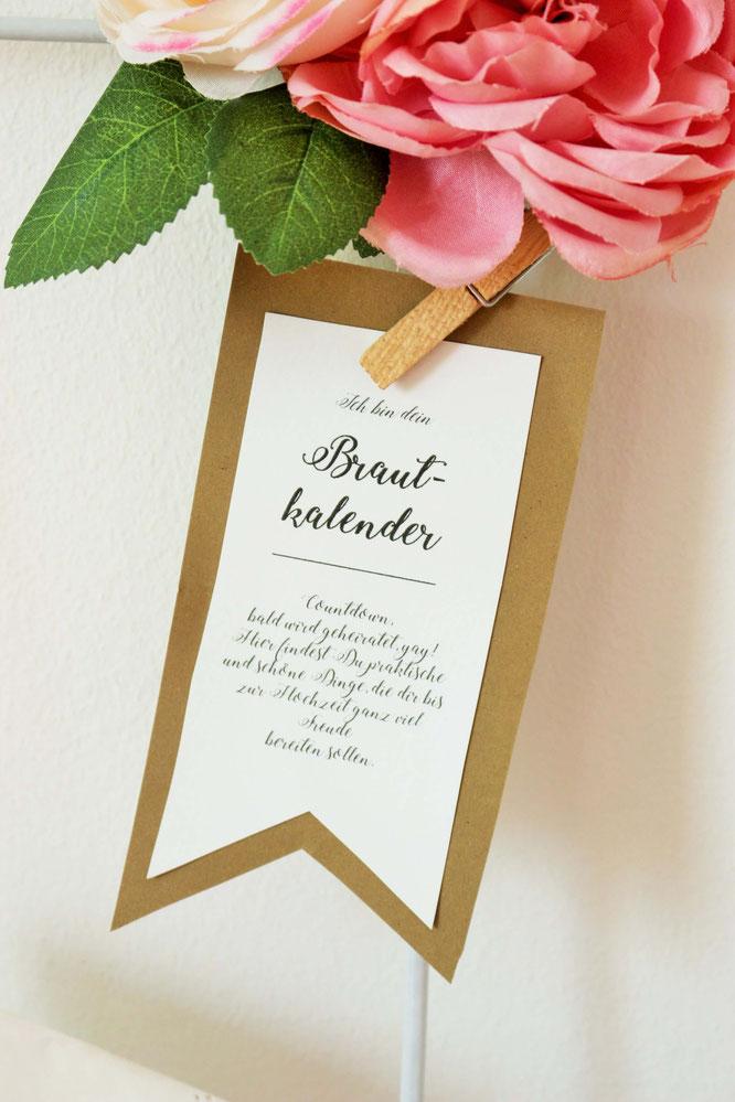 DIY Hochzeitskalender als Geschenk fr die Braut basteln