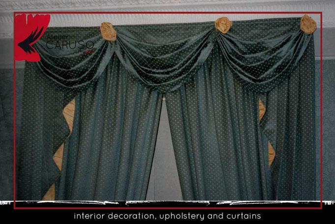 Tenda con mantovana, calate, telo fondo e 2. Tendaggi Classici Con Mantovana Atelier Tessuti Arredamento Tende Tendaggi Interni