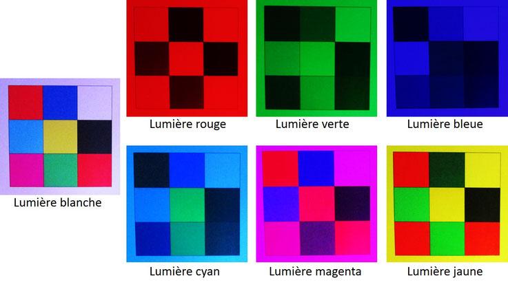 des objets colores eclaires en lumieres