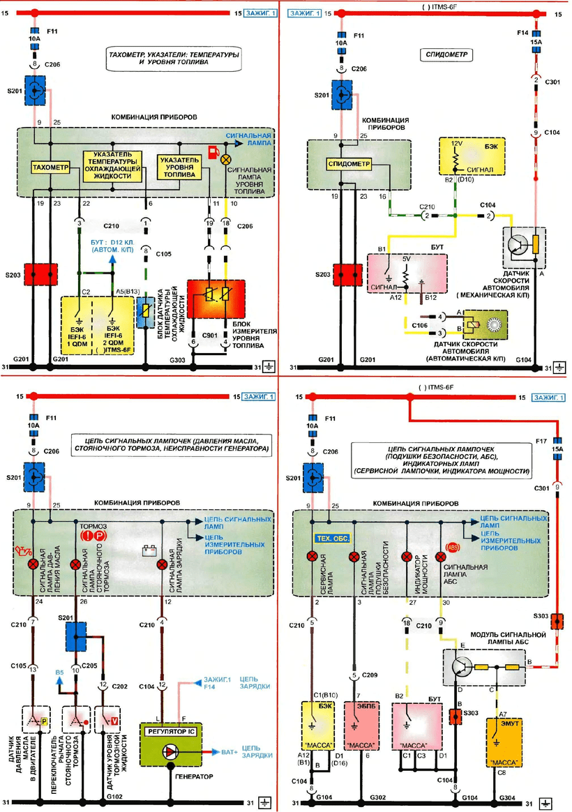 medium resolution of daewoo lanos wiring diagrams of instrument combinations tachometer temperature and oil level indicators