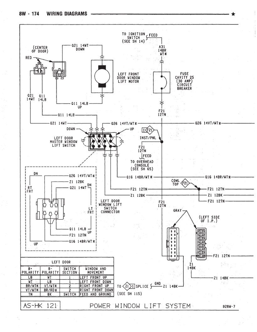 hight resolution of town country power window lift system circuit diagram