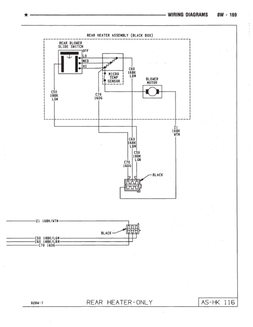 small resolution of town country rear heater wiring diagram