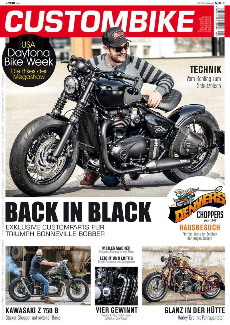 Mellow X Triumph Bonneville Bobber Black Custombike Magazine 5 2018 Cover Story