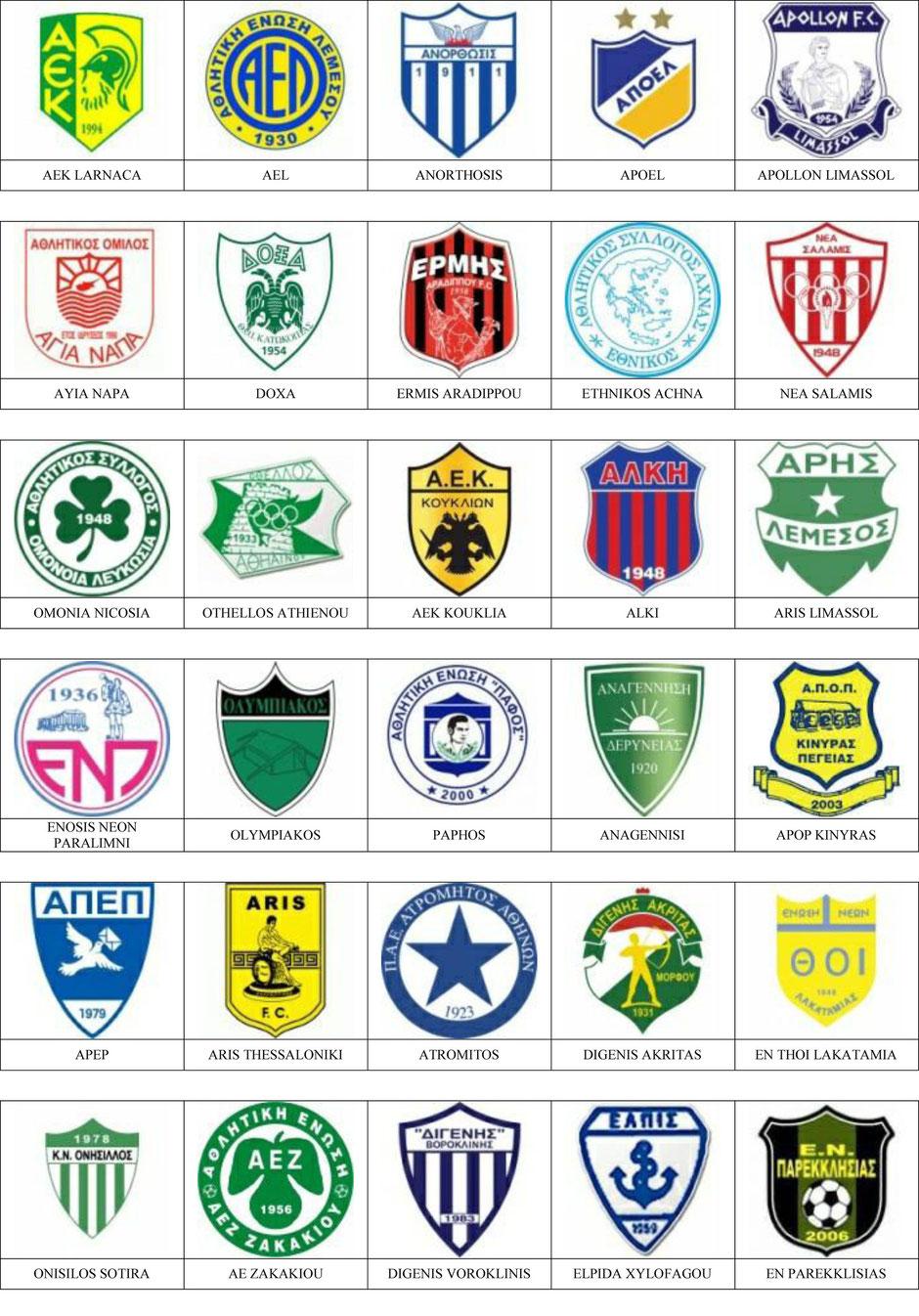 Chipre  Pins de escudosinsiginas de equipos de ftbol