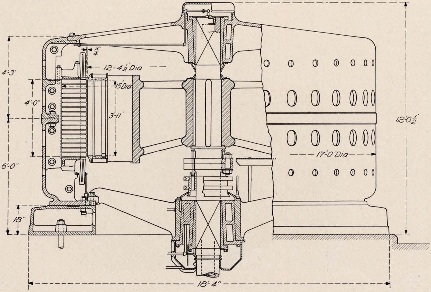 hight resolution of cross section assembly of 10 000 h p 10 000 volt generator building for canadian niagara falls