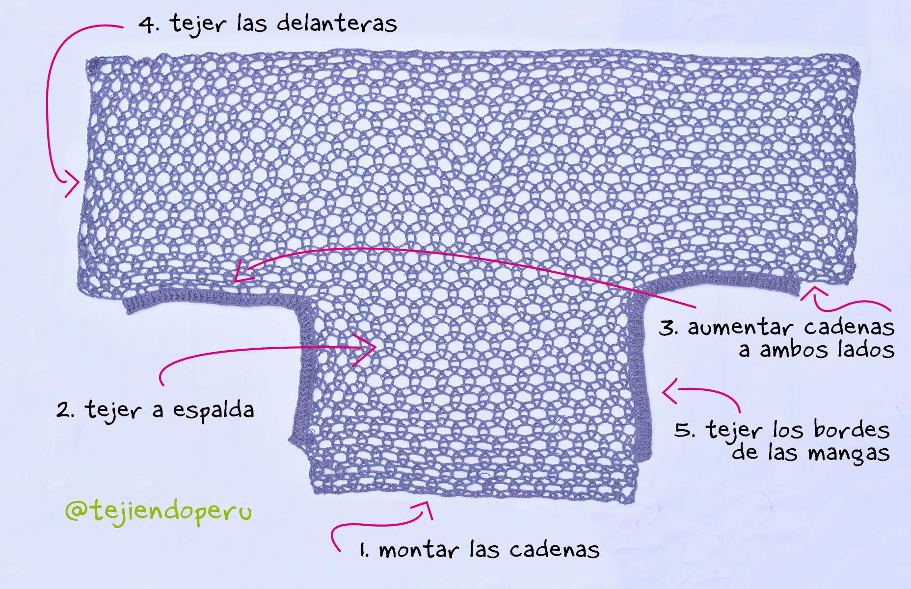 Poncho con mangas en tejido recto a crochet  Tejiendo Per