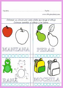 Colorear Crculos Slabas  Actividades Formativas