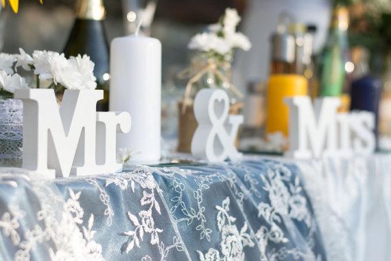 Mr Mrs Wedding Sign Sweetheart Wedding Table Decoration  Happy Wedding Art