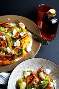Gebackene Süßkartoffeln, Feigen und Ziegenkäse