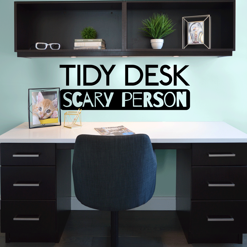 Sunflower Wallpaper With Quote Tidy Desk Scary Person Decal Sticker Wall Art Company