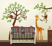 Jungle Tree with monkeys and giraffe wall decal