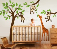 Jungle Tree with Monkeys and Stretching Giraffe Wall Decal ...