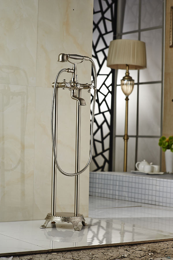 Brushed Nickel Floor Standing Bathtub Faucet Traditional