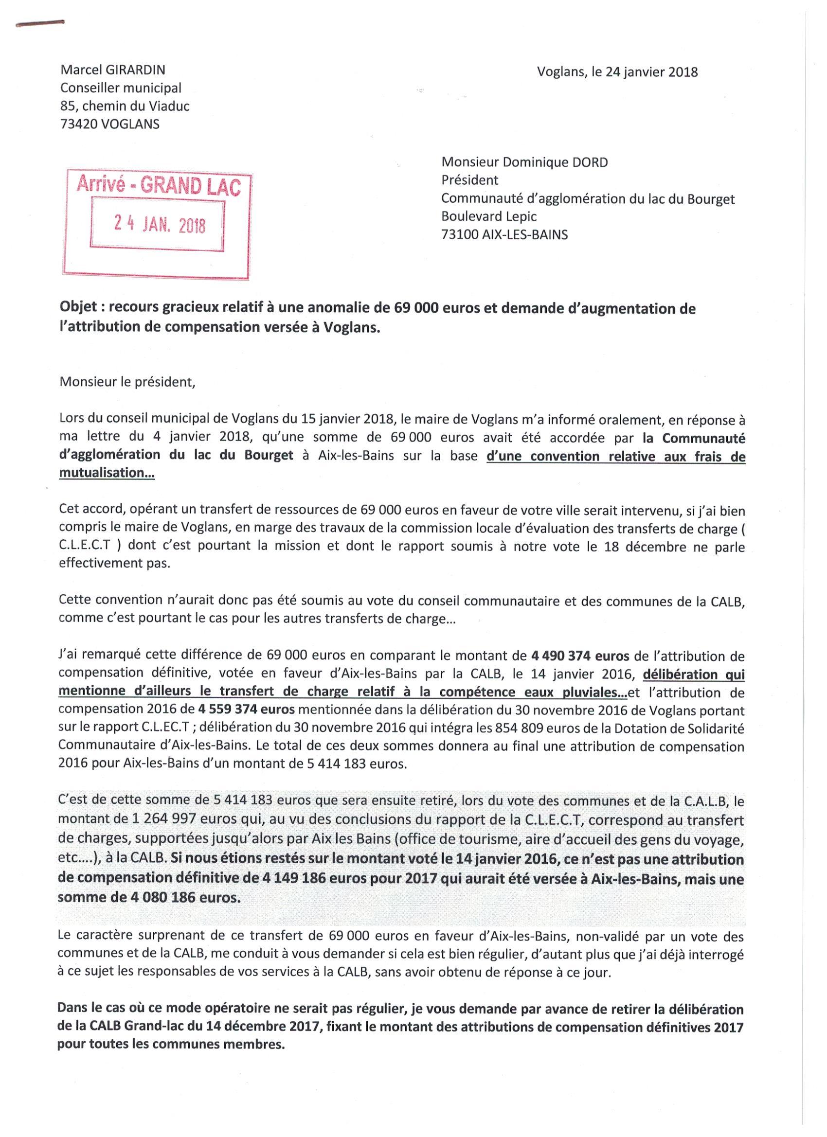 Lettre A Dominique Dord Sur Les Relations Financieres Calb