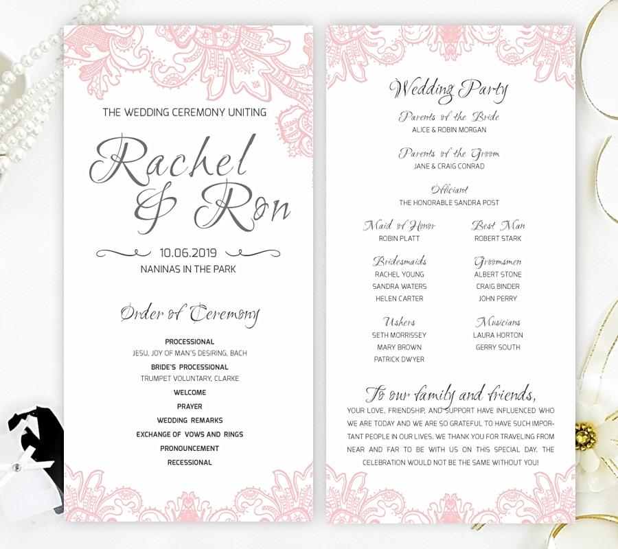 blush wedding ceremony programs