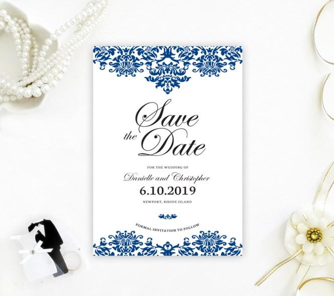 Damask Save The Date Cards Lemonwedding