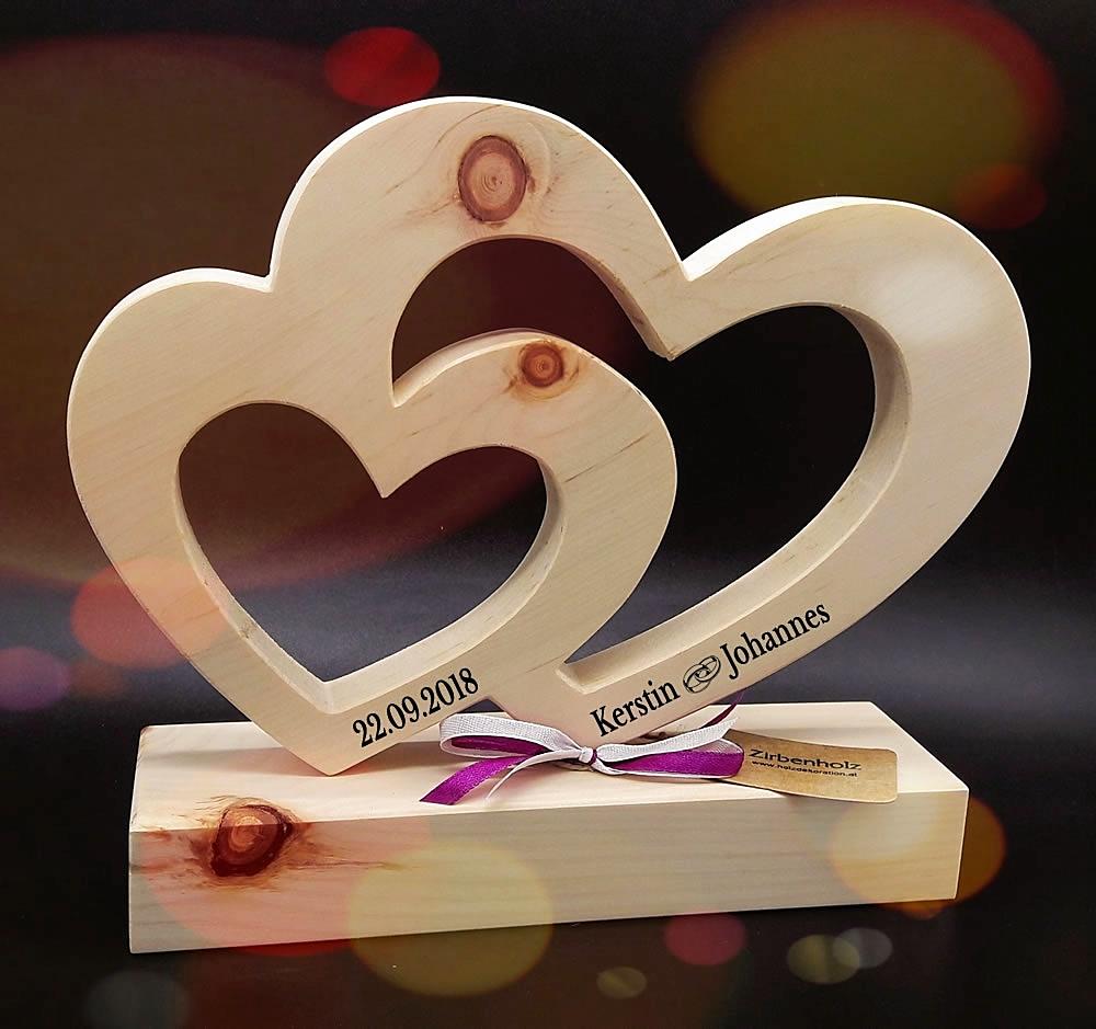 Groes Zirben Herz zur Hochzeit  Geschenke aus Holz