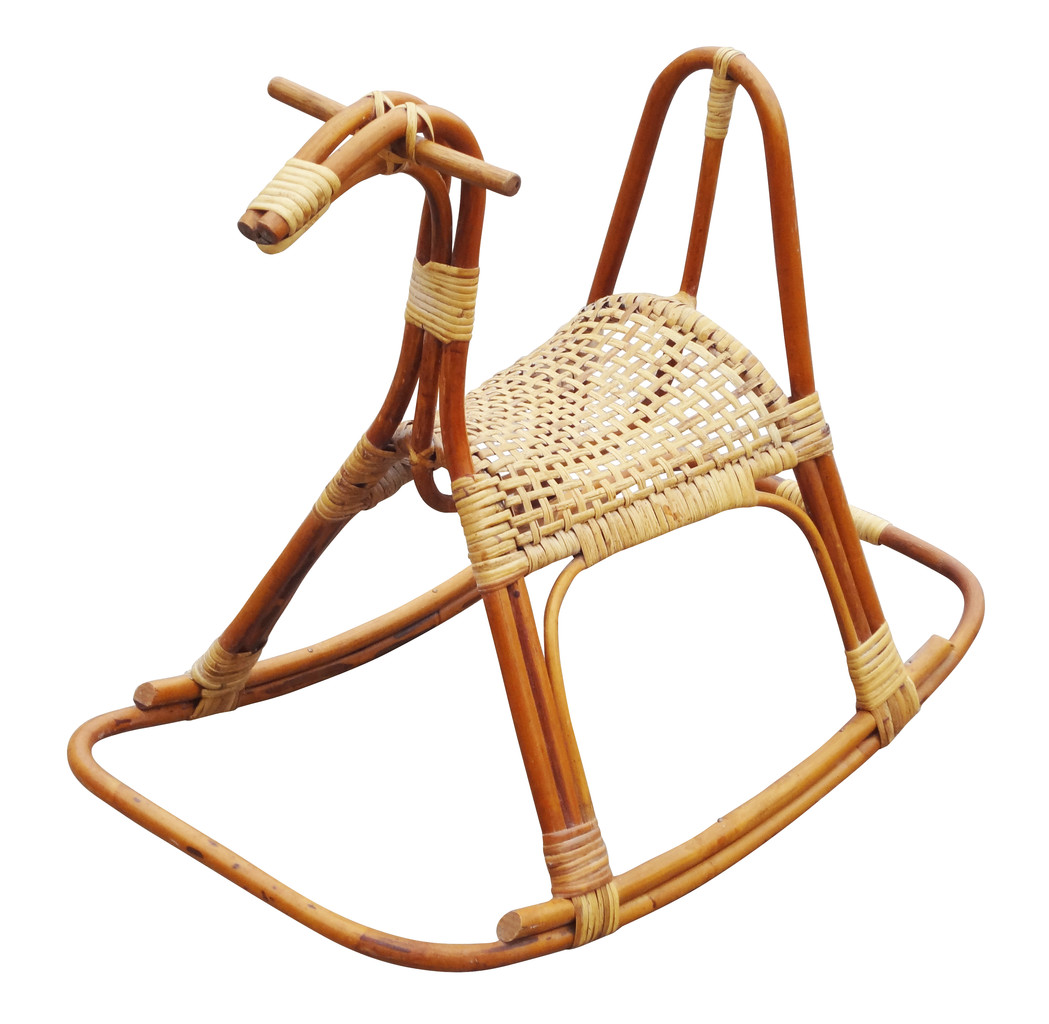 horseshoe rocking chair target camping chairs sculptural vintage rattan horse nueve grand