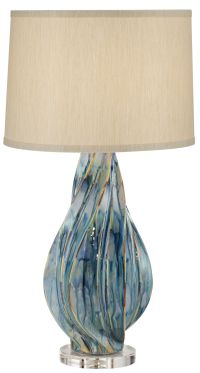 Teresa Teal Drip Ceramic Table Lamp - #1F455 | www ...