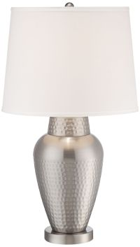 Rupert Brushed Steel Hammered Metal Table Lamp