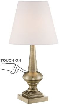 "Brooks Antique Brass Finish 18 1/2"" High Touch Table Lamp"