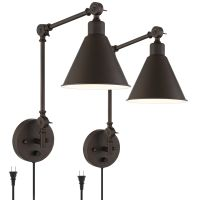 Wray Bronze Metal Swing Arm Wall Lamp Set of 2