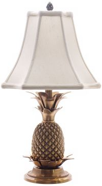 Antique Brass White Shade Pineapple Table Lamp