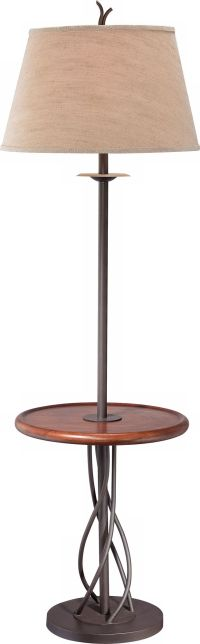 Iron Twist Base Wood Tray Table Floor Lamp - #N5774 ...
